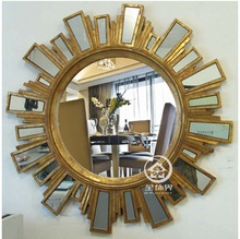 Antique Finished Sunburst Wall Mirror Glass Vanity Mirror Wall Decorative  Mirrored Art Console Mirror(China Part 66
