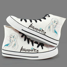 Japan Anime ANOHANA FES Hand-painted shoes Yadomi Jinta Honma Meiko plimsolls canvas shoes rope soled shoes(China)