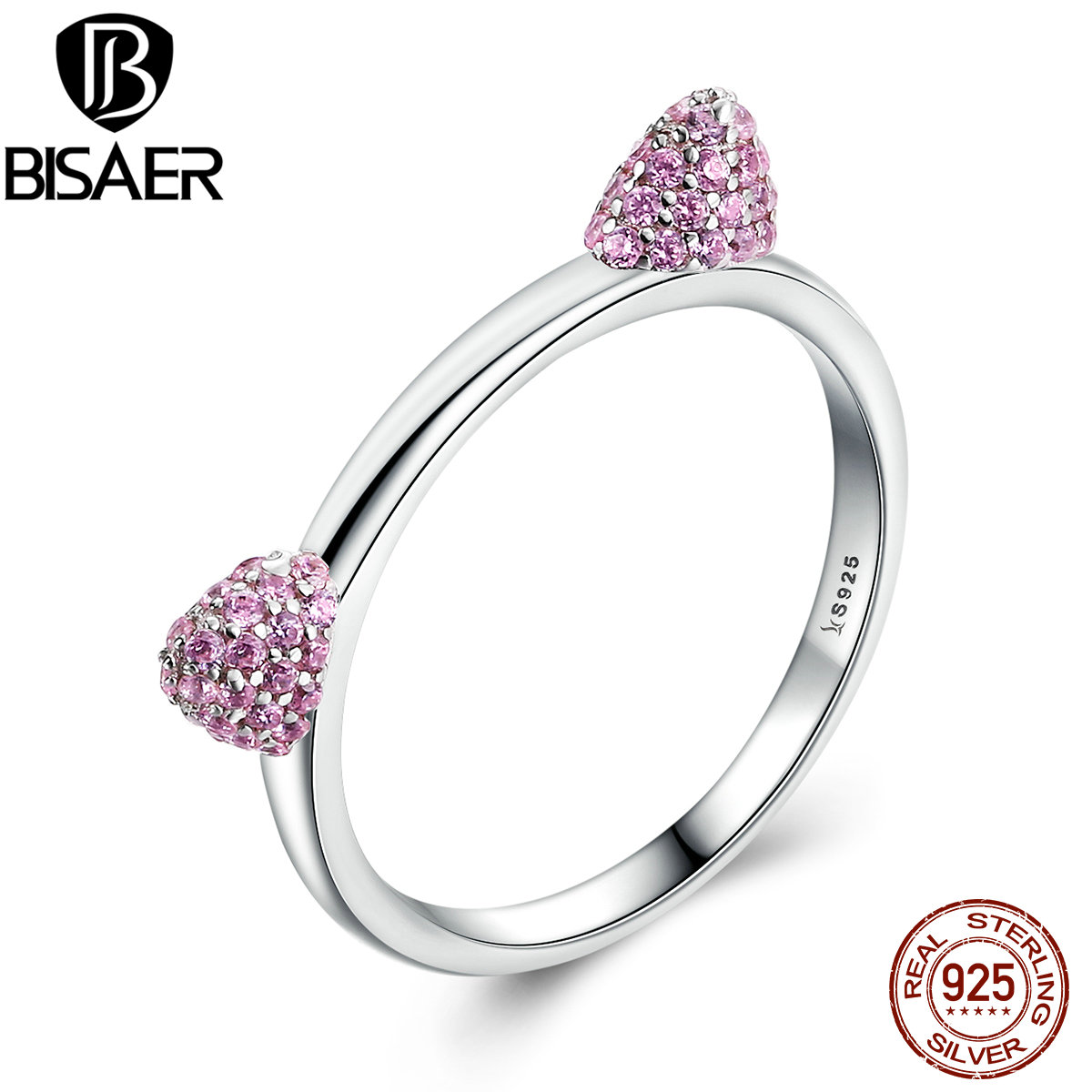 BISAER Real 100% 925 Sterling Silver Sweet Pink Cat Ears Puss