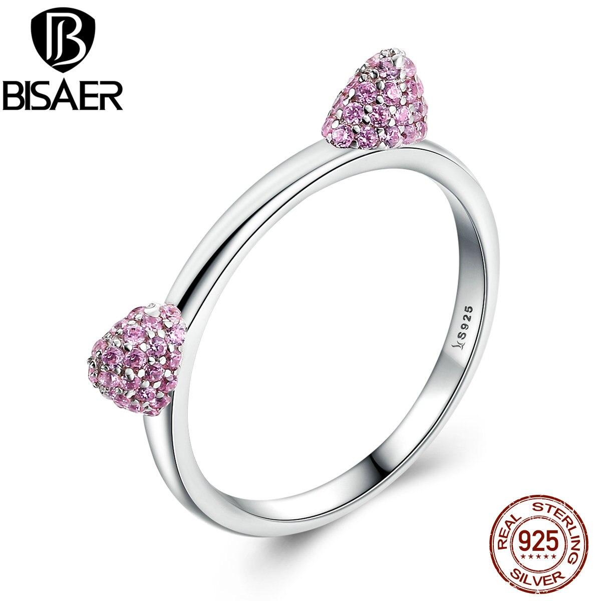 BISAER Real 100% 925 Sterling Silver Sweet Pink Cat Ears Pus