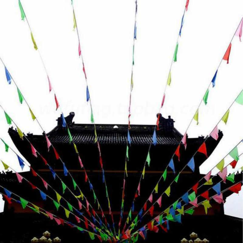 2 cái/lốc Đầy Màu Sắc Vải Bunting Trang Trí Cờ Cờ Đuôi Nheo Dây Cờ Vào Ngày Lễ Hội Tùy Chỉnh In Logo 80M