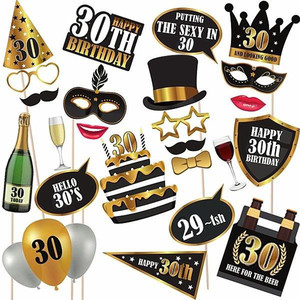 Chicinlife 1Set 30th/50th/60th Photo Booth Props Happy Birthday Party Man Woman Funny Gift Anniversary Decoration Supplies(China)