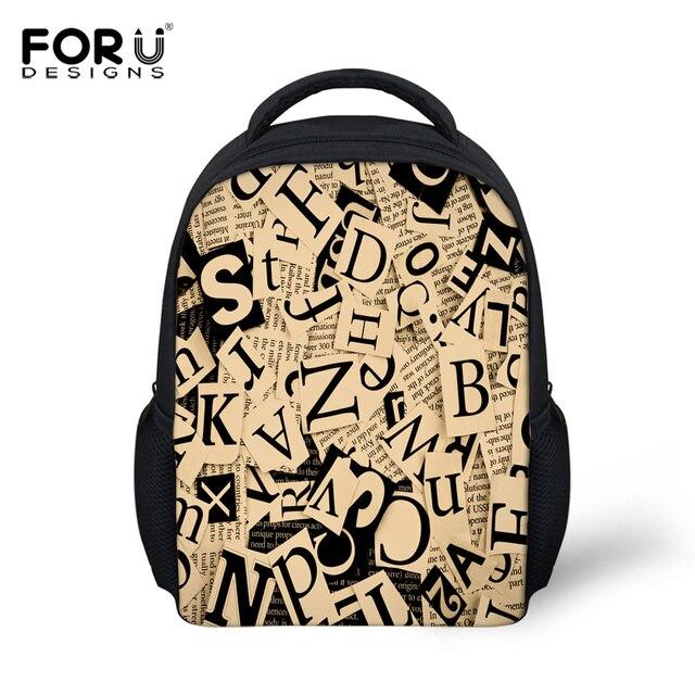 ba9a332728 FORUDESIGNS Casual 3D Letter Printing School Backpacks For Children Boys  Girls Vintage Kindergarten Mochila 12inch Bagpack Kids
