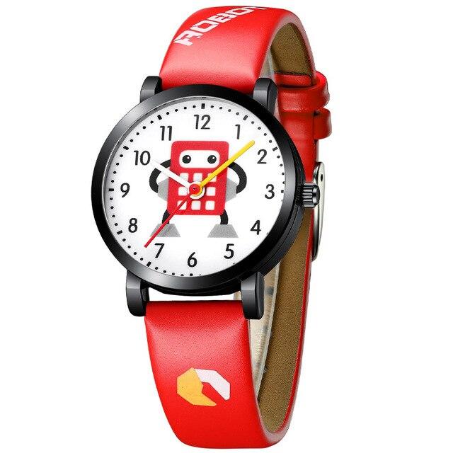 KDM Lovely Boy Watches Child Clock Watch Waterproof Genuine Leather Children Cartoon Robot Cute Student Wristwatch Clocks