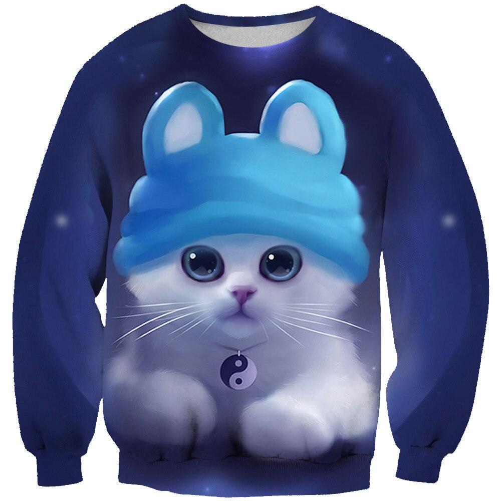 Men Casual Hoodie We Best Friend Cat Cartoon Print Full Sleeve Hoody O-Neck Pullover Male Hipster Harajuku Femme Sweatshirts