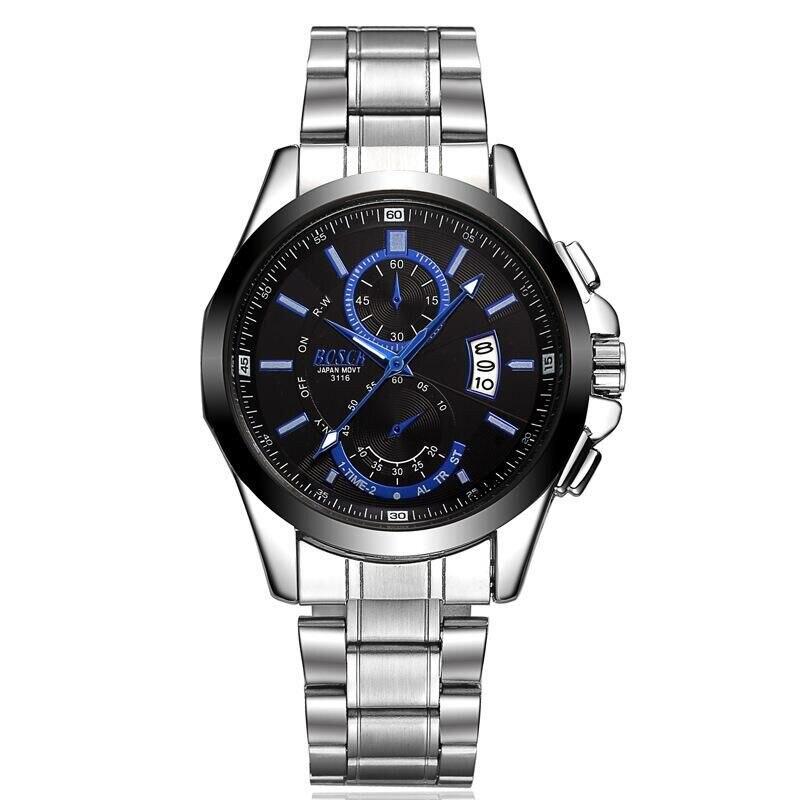 The new 2016 stainless steel men's wristwatch, high-end luxury brand watches, automatic calendar quartz watch business men watch