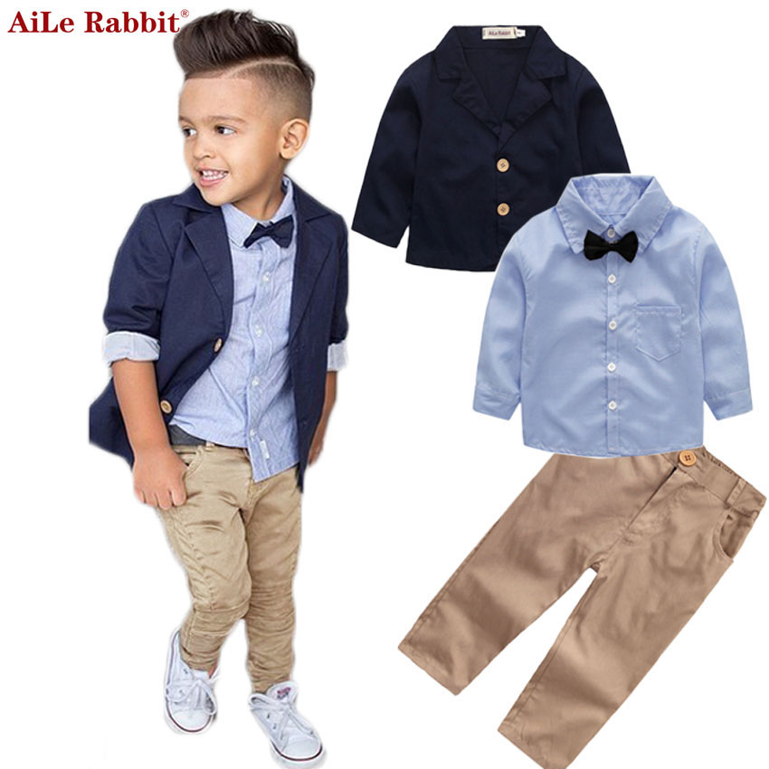 Aile Rabbit  Boys Clothing Gentleman Sets Jacket  Shirt  Pants 3pcs/set Kids Bow Children's Suits Coat Tops Stripe Apparel K1