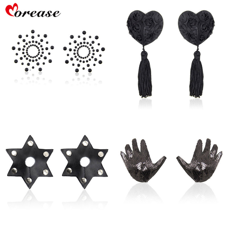 Morease Sex Toy Nipple Clips Stickers Cover Breast Sexy Flirty Toy Transparent Tassel Heart Shaped Adhesive Bra Women Fetish