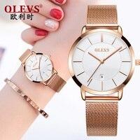OLEVS Brand Luxury Quartz women watc white Business Casual Black Japan quartz watch genuine leather ultra thin clock New