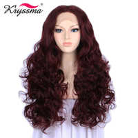 Red Wine Long Wavy Wigs for Women Synthetic Lace Front Wig 24 Inches Glueless Heat Resistant Fiber
