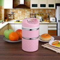 1080ml Stainless Steel Lunch Box Double Layer Detachable Portable Cute Thermal Lunch Boxs Picnic Camping Container