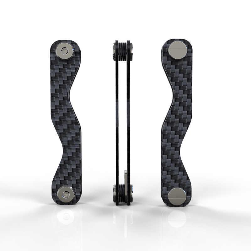 LLavero de fibra de carbono, llavero inteligente, llavero de bricolaje, EDC, llaves de coche, organizador de llaveros