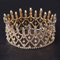 Gogeous large Round Sparkling Crystal Women Crown Tiaras Bridal hair Jewelry Wedding Hairwear Hair Accessory Queen Style Crowns