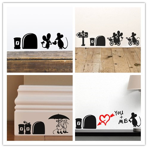 I Love You So Much 3d Funny Mouse Hole Wall Stickers Decals Living Room  Bedroom Wall Part 11