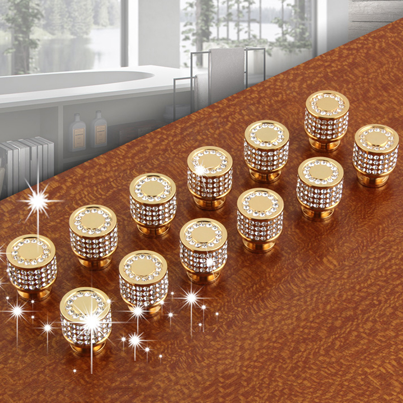 Luxury 24K Real Gold Czech Crystal Brass Round Cabinet Door Knobs And Handles Furnitures Cupboard Wardrobe Drawer Pull Handles