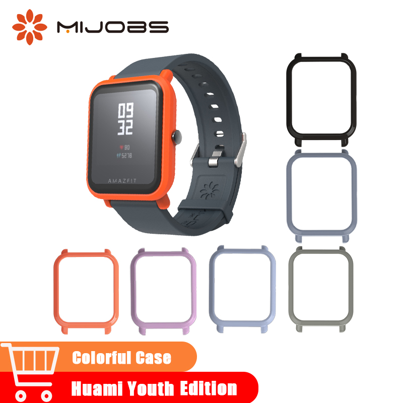 Mijobs Case Slim Plastic Frame PC Protector Cover for Xiaomi Huami Amazfit Bip BIT PACE Youth Smart Watch Strap Bumper Wristband flexible plastic bumper frame case for iphone 6 4 7 black grey white