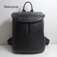 Relwaver genuine leather backpack natural cowhide yellow bucket school bags soft folding black female middle size backpack women