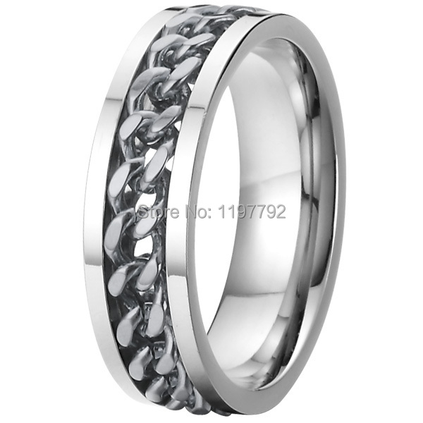 silver color mens spinner rings spinning wedding bands cool man biker chain pure titanium steel jewelry
