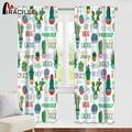 Затемняющие пасторальные шторы Miracille  зеленое Тропическое растение  плотные кухонные шторы с узором кактус  занавески для домашнего декора
