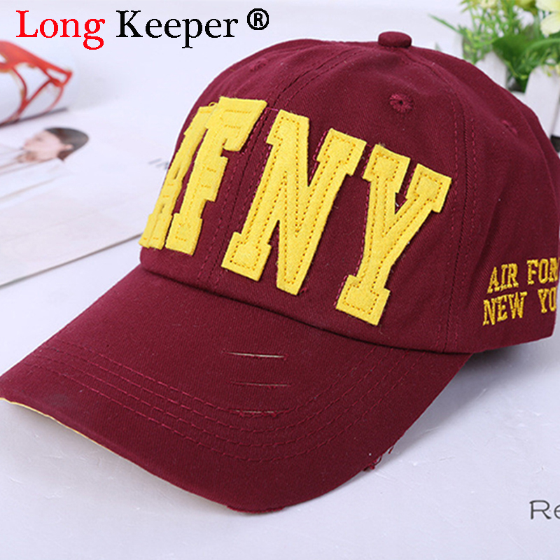 a4c78519 Classic Distressed Wearing Baseball Cap Brand Designer Caps Men Women  Fashion Snapback New York letter Hats Cotton Gorras R020