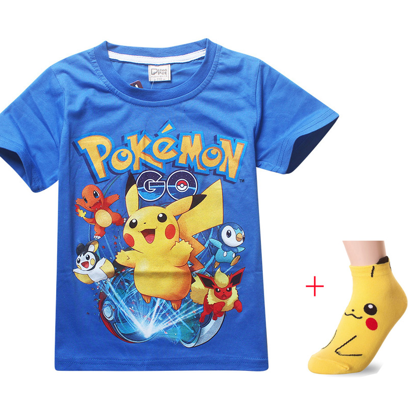Shirt Kids Go-Pikachu Pokemon Short-Sleeves Printing Baby-Boys Cartoon Summer New Socks