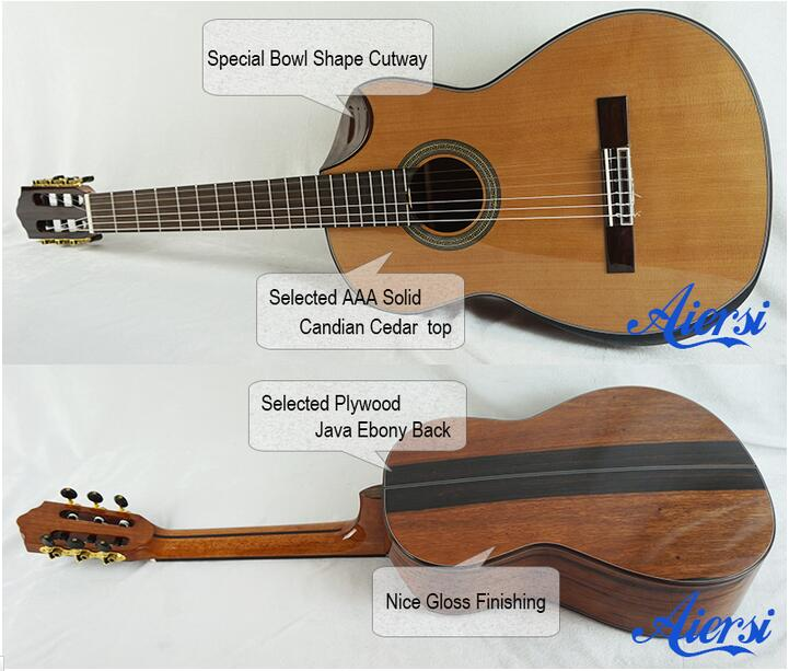 High Grade Bowl Cutway Handmade Vintage Solid Top Spanish Classical Guitar with free CaseSC02AJCN performance cutway classic guitar with hard case