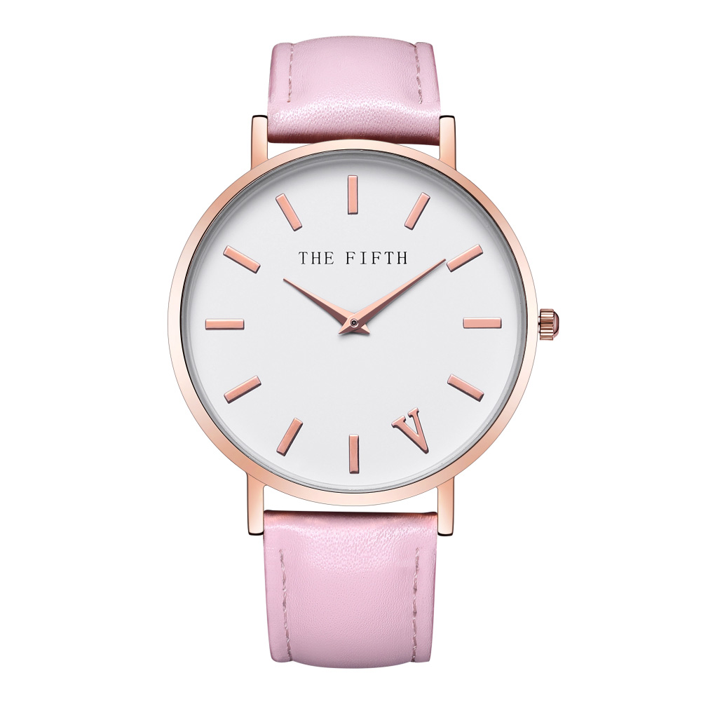 THE FIFTH Top Brand Fashion Ladies Watches Leather Female Quartz Watch Women Thin Casual Strap Watch Reloj Mujer shengke top brand fashion ladies watches white leather marble dial female quartz watch women thin casual strap watch reloj muje