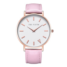 Den femte Top Brand Fashion Ladies Klockor Läder Kvinnor Quartz Watch Kvinnor Tunna Casual Strap Watch Reloj Mujer
