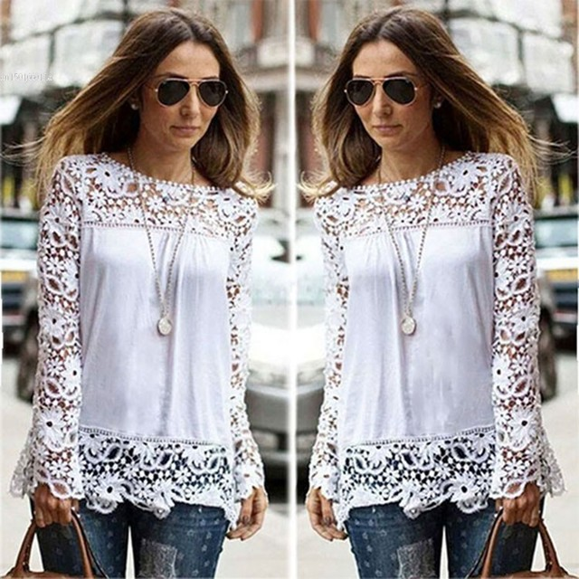 b27082b0977 2017 New White Fashion Women Sheer Sleeve Embroidery Top Blouse Lace  Crochet Chiffon Shirt S M L XL