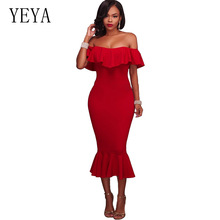 YEYA Women Office Lady Ruffles Bodycon Dress Solid Short Sleeve Pencil Dresses Slash Neck Backless Sexy Midi Dress Party Wear 6xl oversized dress women clothing office bodycon midi pencil dress fashion square neck lace hook flower party dresses red blue