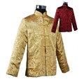 Бургундия Золото Традиционных Реверсивные Китайских людей Шелковый Атлас Куртка Два Лица Пальто с Карманного Размера Sml XL XXL XXXL