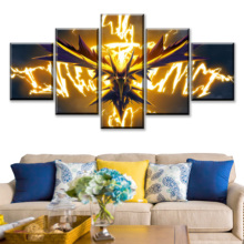 Home Decor Painting On Canvas Printed 5 Pieces Animation Pokemon Poster Dragon Spirit Modular Picture Wall Art For Living Room цена