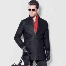 Men's Lamb Fur Jacket Double-Face Coat Sheep Fur Leather Jacket Fashion Slim Long Casual Jacket O-Neck GSJ124