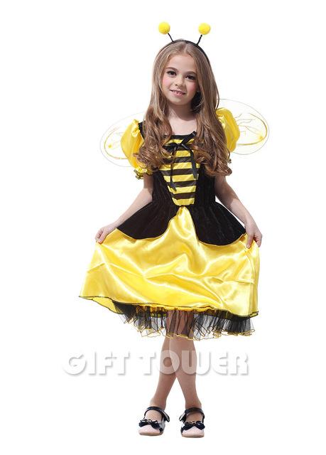 Amarillo y Negro Masquerade Costume Niños Mariquita Alas De Abeja Cosplay Niños Escenario de Funcionamiento Del Partido Traje GT280