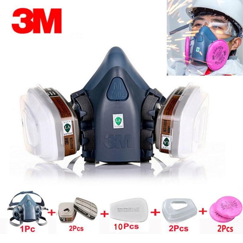 Máscara respiradora 3 M 7502 17 en 1 traje de pintura industrial espray polvo máscara de Gas con 3 m 501 5N11 6001CN media máscara facial química