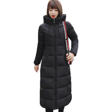 Plus rozmiar 4XL 5XL 6XL damskie zimowe kurtki z kapturem stanąć kołnierz bawełna wyściełana damska płaszcz zimowy kobiety długa Parka ciepłe zagęścić