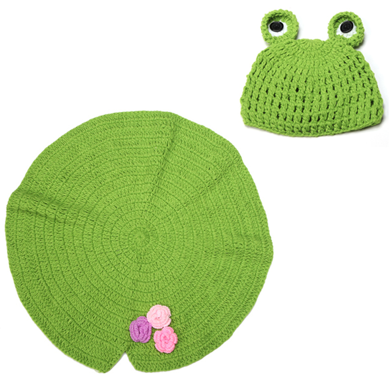 Handmade Baby Newborn Lotus Leaf Style Blanket with Frog Hat Outfit Crochet Photography Props Baby Beanie 1set H027