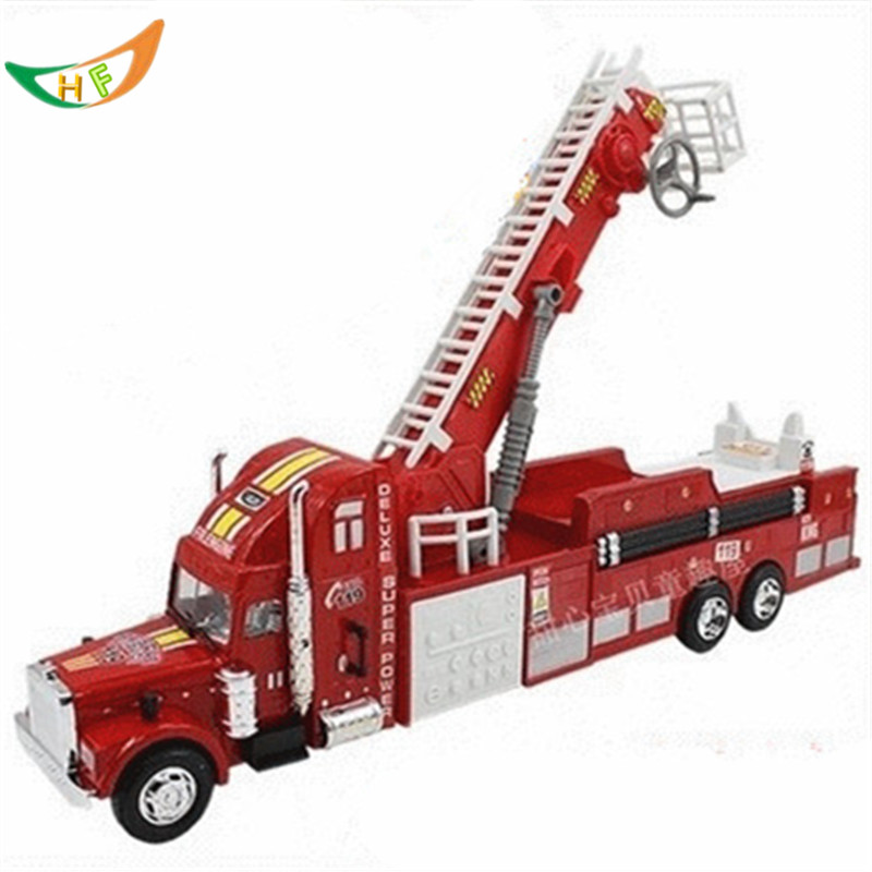 Child large fire truck 51cm toy car model ladder truck fire truck denggao car toys for kids children inertia toy car simulator ladder truck firetruck