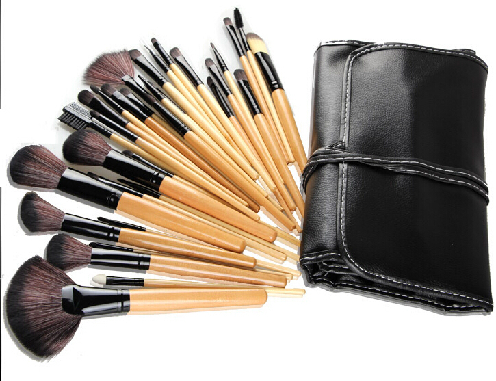 32pcs paintbrushes of Makeup brushes Professional Make up Tools Cosmetic hand to Make up burshes kit set with Black Leather bag
