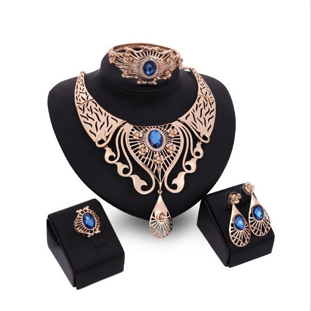 festa Gold african beads jewelry set Gold Necklace Earrings Bracelets Rings casamento Jewelry Sets S0201