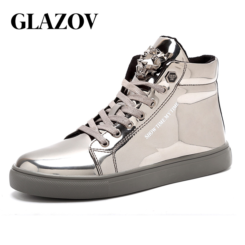 Men Shoes Casual High Top PU Leather Skate Italy European Cow Skin Flats British Style Sneakers Luxury Trainers Red Hip Hop 47