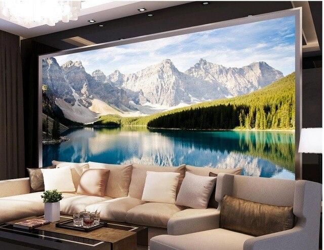 Personnalise 3d Photo Papier Peint Panoramique Montagne Lac 3d