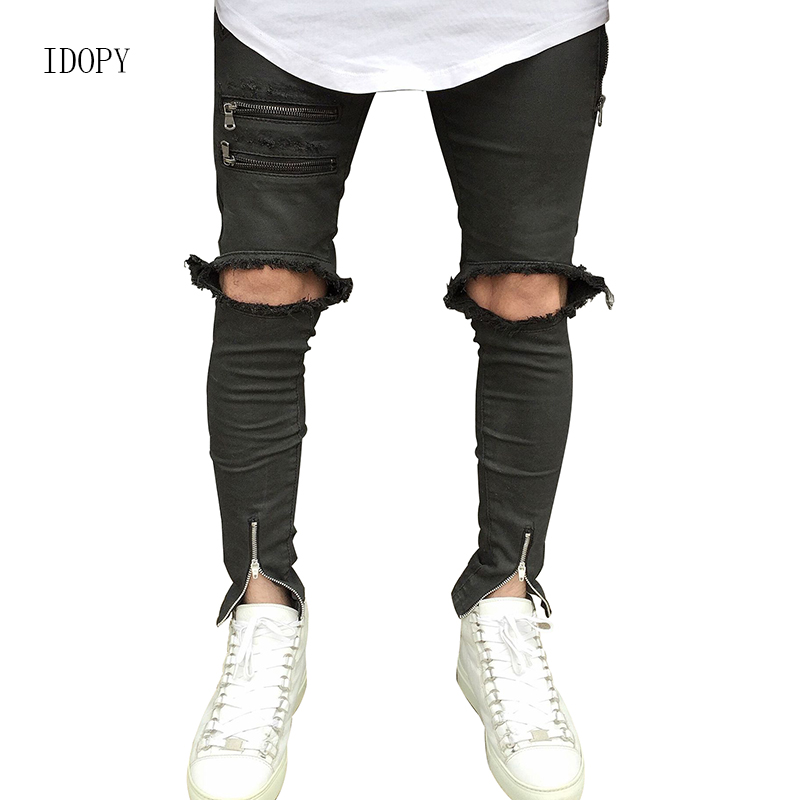 db14cac0979 New Men`s Biker Skinny Jeans With Ankle Zipper Ripped Distressed Destroyed  Big Knee Hole Slim Fit Pants For Hipster Street Style
