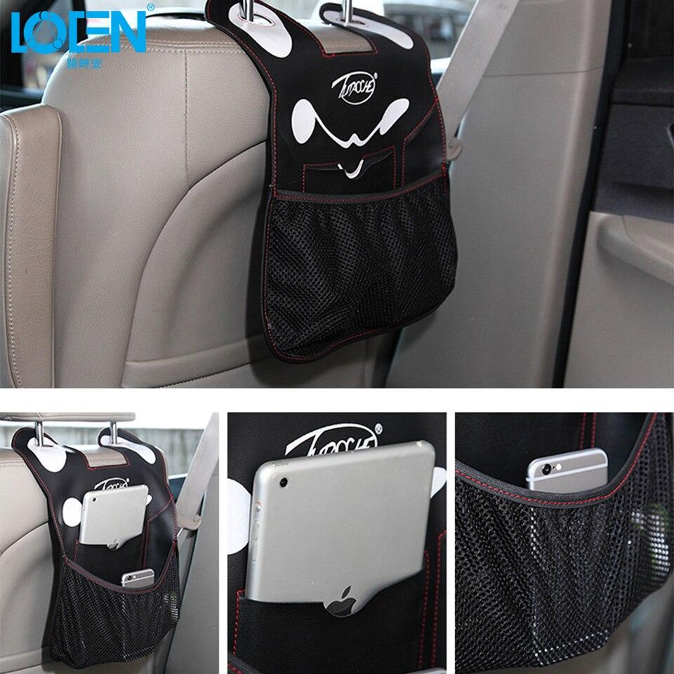 Car interior hanging - Auto Cartoon Seat Back Storage Bag Hanging Bags Leather 41cmx31cm Car Interior Organizer Universal Car Black Gray Beige 2pcs