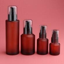 2 шт. пустой многоразовый косметический распылитель Янтарное стекло Лосьоны Бутылка с насосом, герметичность, нетоксичный и безопасность