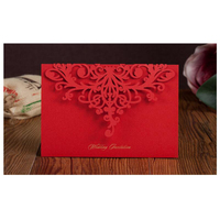 50pcs Pack Laser Cut Wedding Invitations Cards Elegant Red Invitation With Envelopes Free Printable Invitation Mariage