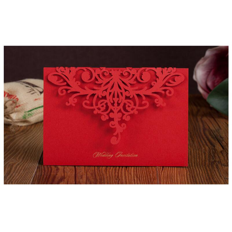 50pcs/pack Laser Cut Wedding Invitations Cards Elegant Red Invitation with Envelopes Free Printable Invitation Mariage 50pcs pack laser cut wedding invitations cards elegant flowers free printing birthday party invitation card casamento