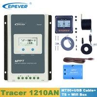 EPever Tracer1210AN Солнечный контроллер 10A 12V24V MPPT регулятор с MT50 дисплей/USB кабель/датчик температуры/wi fi коробка в том числе