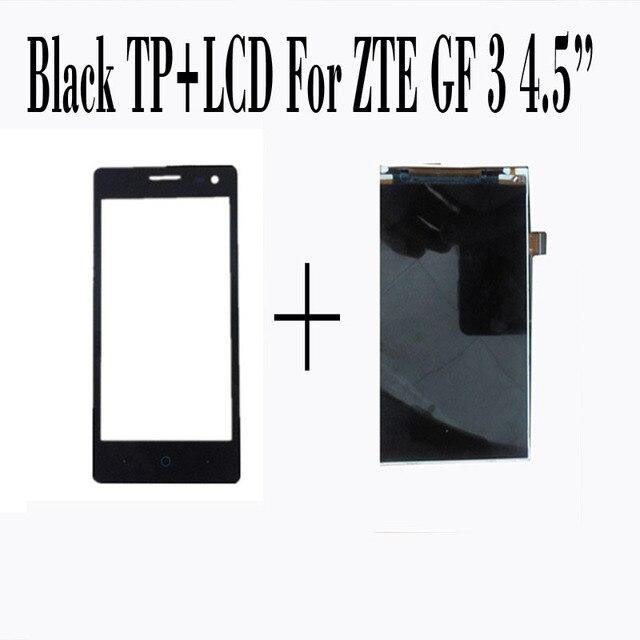 100% nova tela de toque + display lcd para zte blade gf3 4.5 ''tela painel de digitador de vidro sensor preto smartphone repairtment