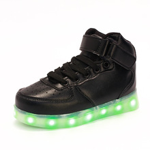 usb charged bright led slippers Kids Light Up trainers Black Luminous sneakers with flashing lights tenis led infantil schoenen